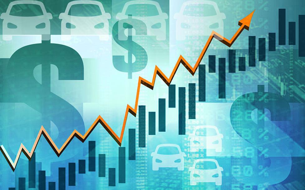 график роста на фоне значков доллара