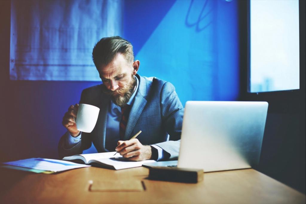 бизнесмен планирует свои дела