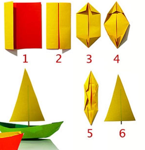 Парусный кораблик из бумаги