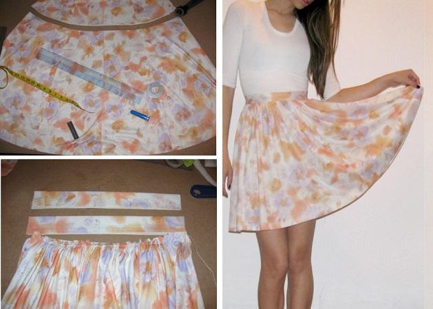 Пошив юбки из старого платья