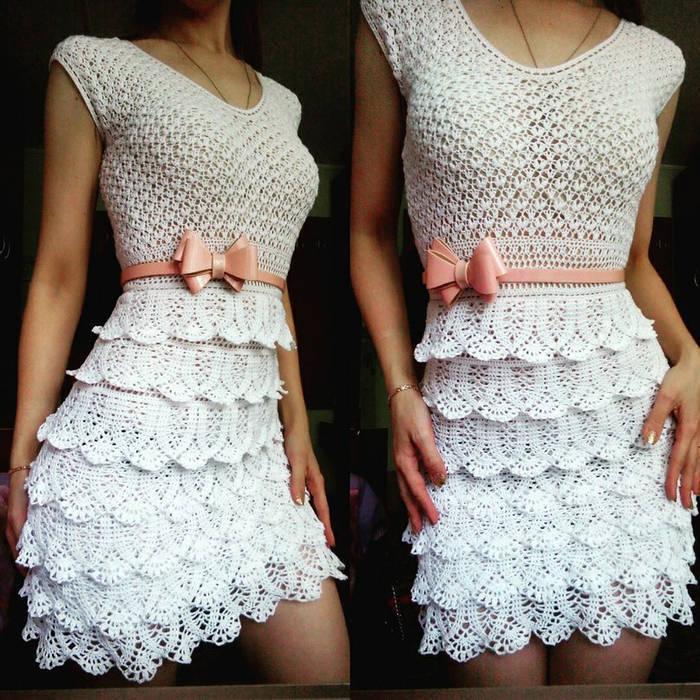 Белое платье крючком мотивы