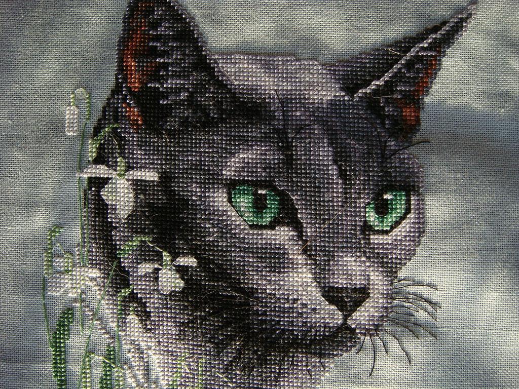 черный кот вышивка