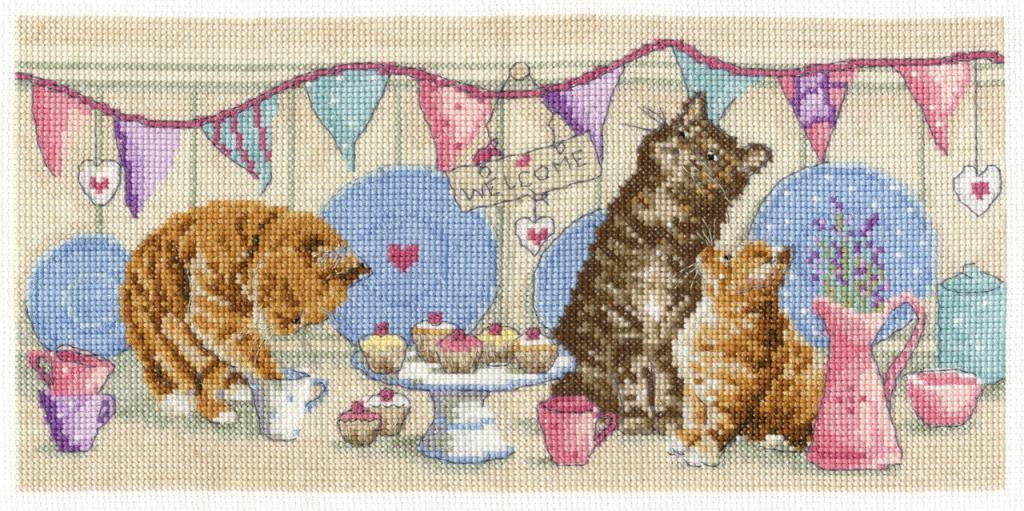 кошачье чаепитие вышивка