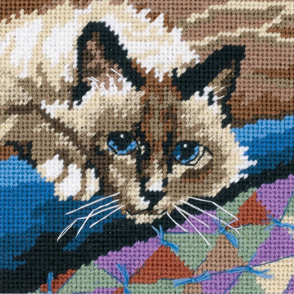 кот вышивка