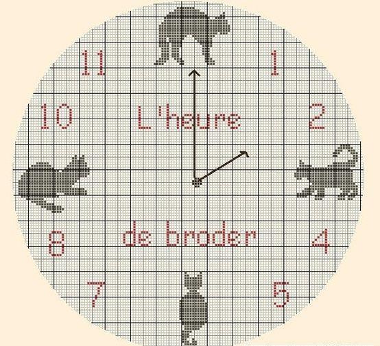 часы в стиле монохром схемы вышивки