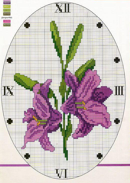 часы с лилиями схемы вышивки