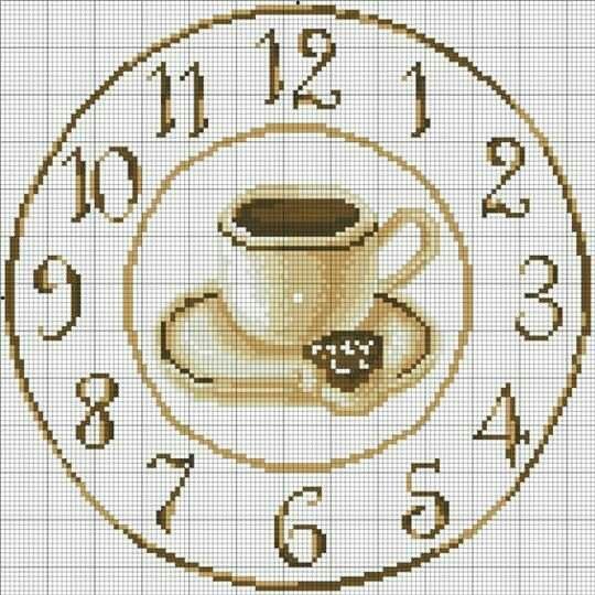 Схема вышивки часы с кофе