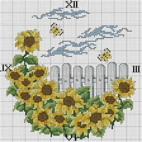 схема вышивки часов крестиком