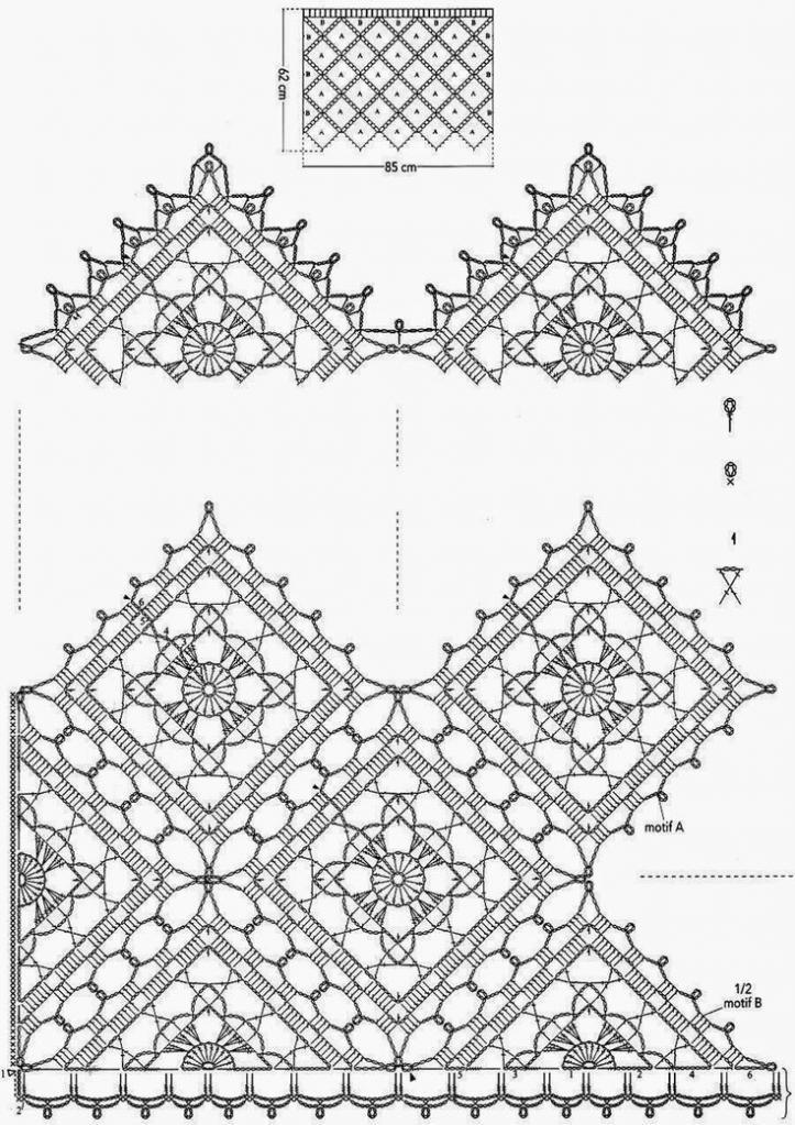 вязаная штора из элементов