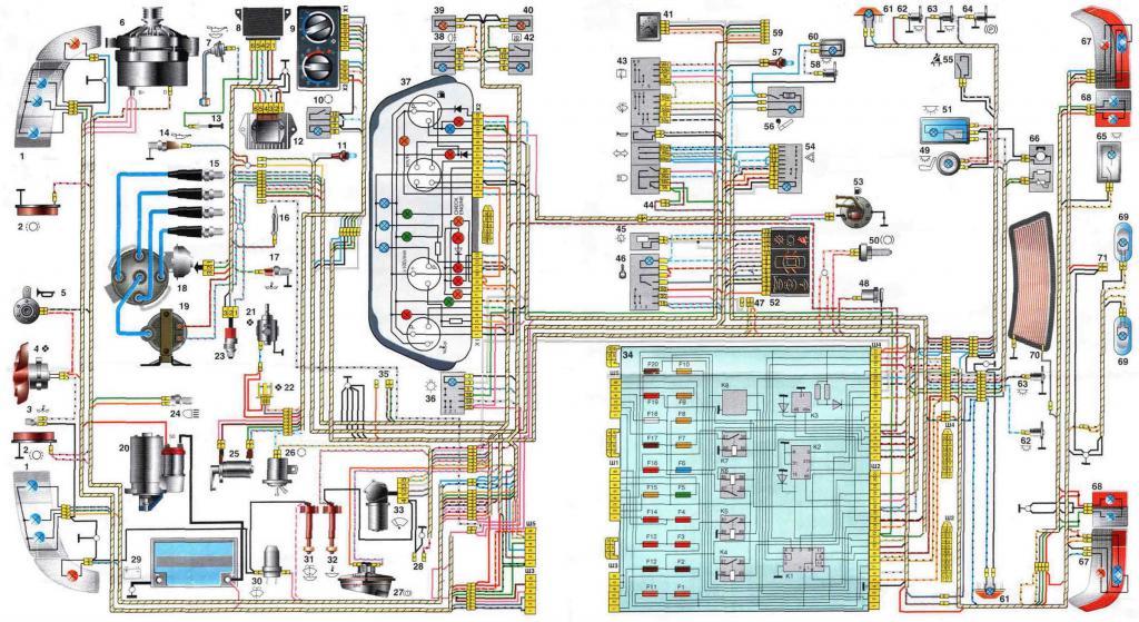 Схема электропроводки ВАЗ 2110