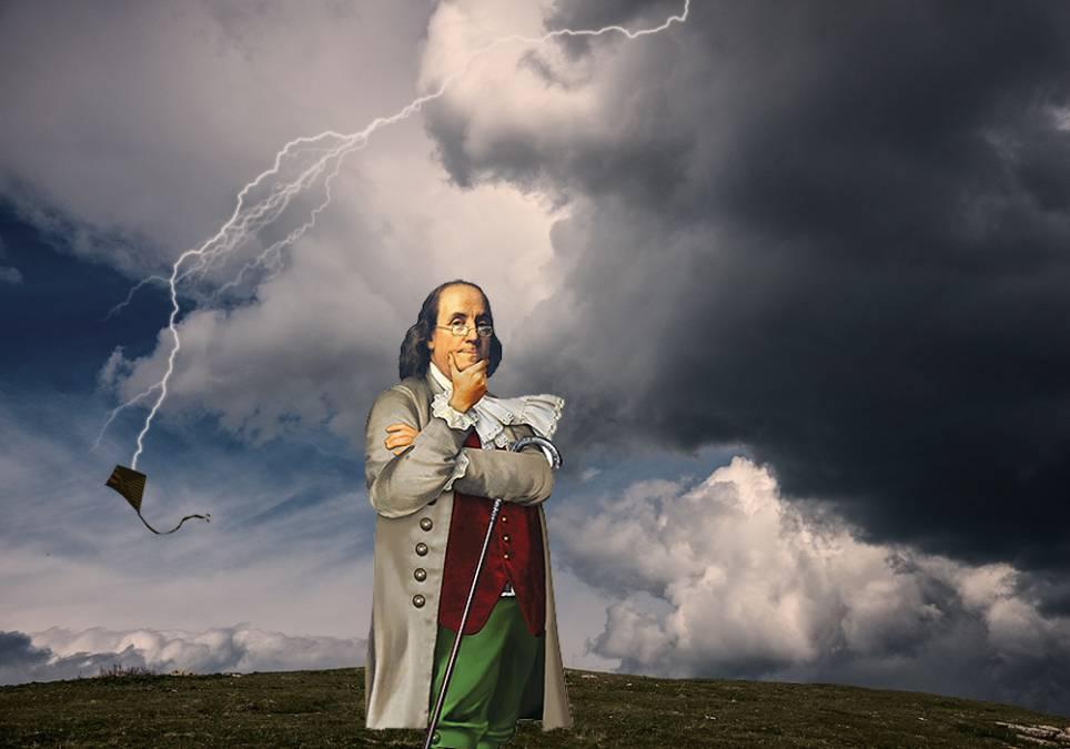 Бенджамин Франклин изучает молнию