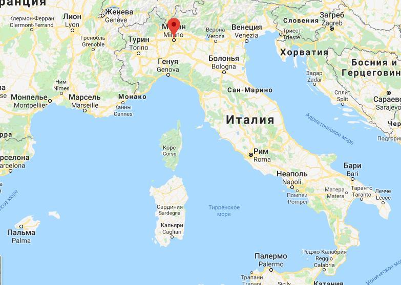 Милан на карте
