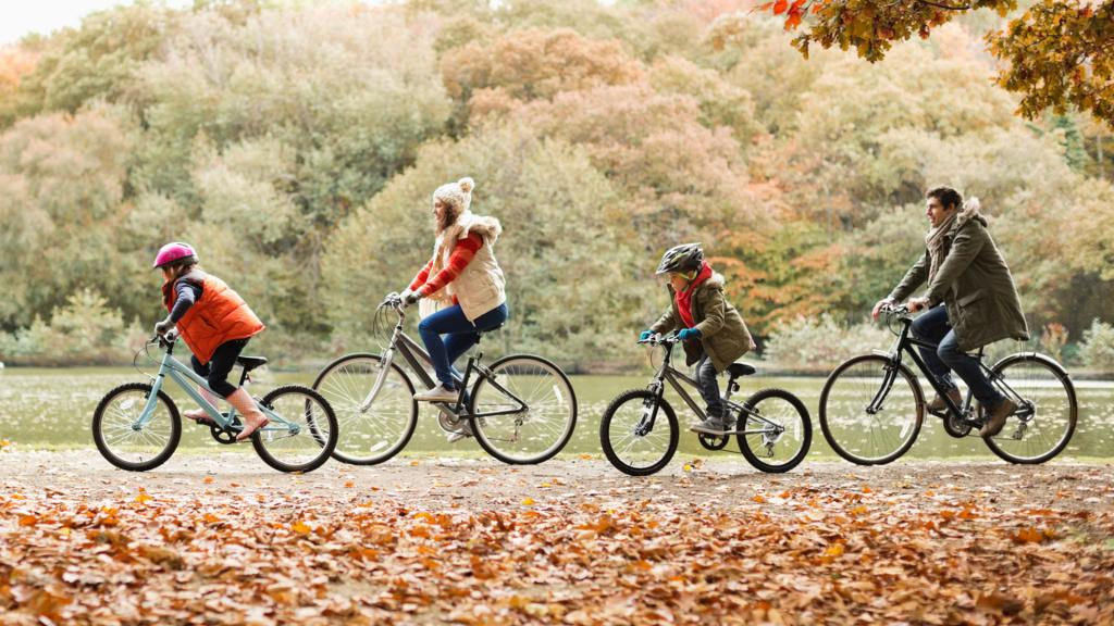 семья едет по парку на велосипедах