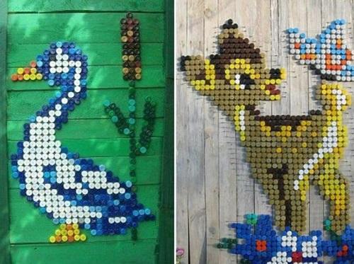 Картины из крышек пластиковых бутылок