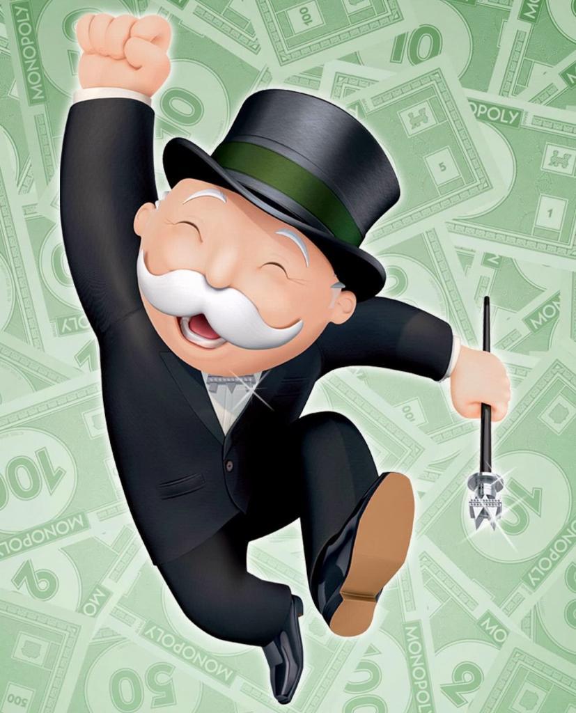 Человечек на фоне денег