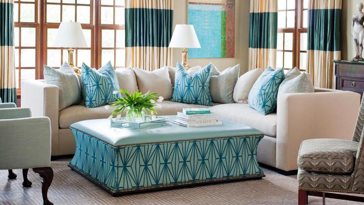 Дизайн бирюзовой гостиной