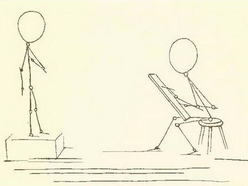 человек в движении карандашом