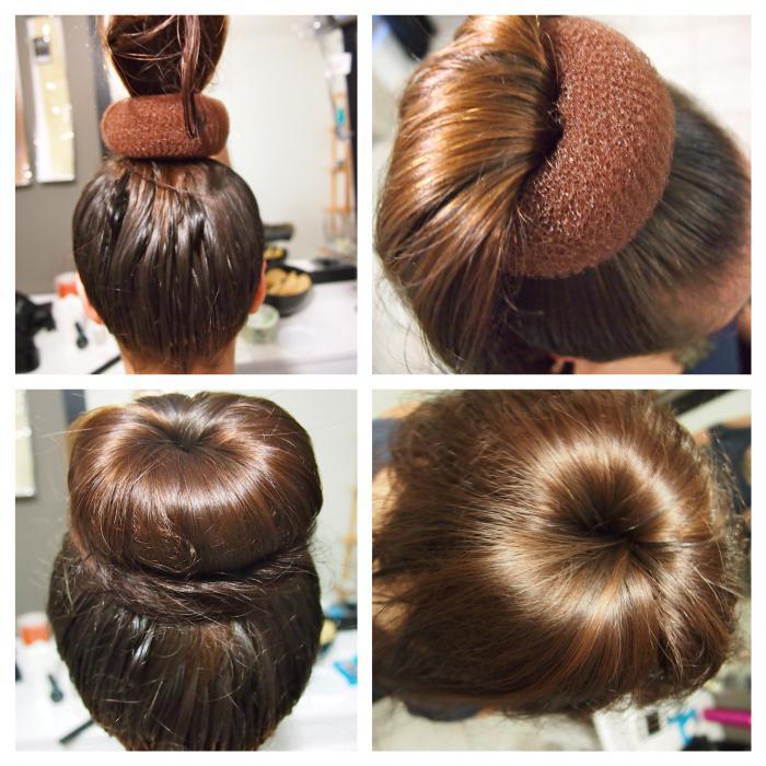 как делать шишку с бубликом на длинные волосы