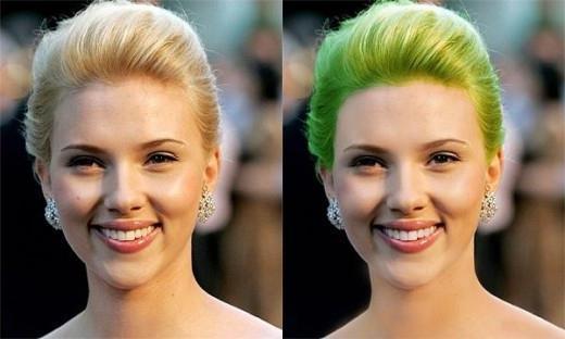 как в фотошопе изменить цвет волос