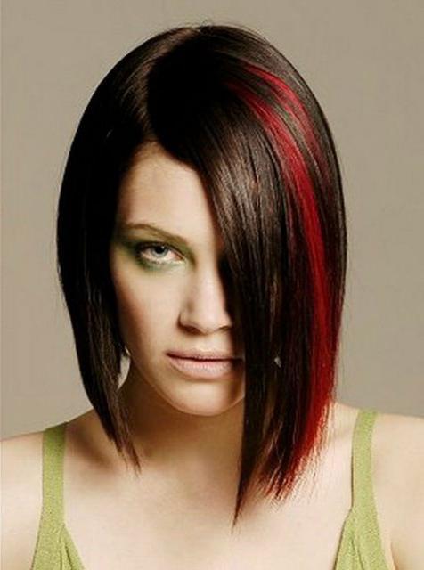 светлые пряди на темных волосах