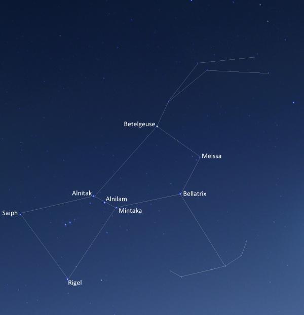 две яркие звезды в созвездии Орион