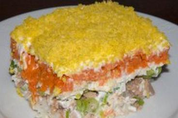 салат мимоза слоями
