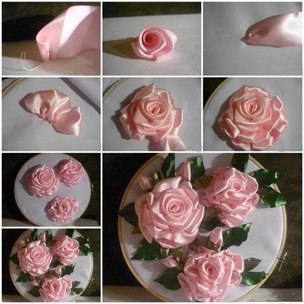 Роза из атласной ленты пошагово с