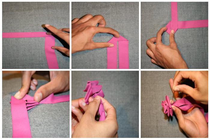 Букеты из лент своими руками пошаговая инструкция 84