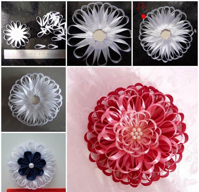 Цветы из атласных лент своими руками из тонких лент