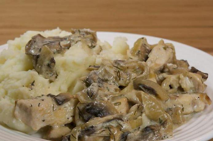 куриное филе в сливочно грибном соусе