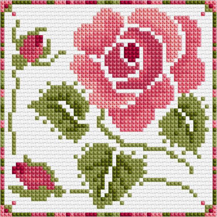 Розовые схемы вышивок крестом 663